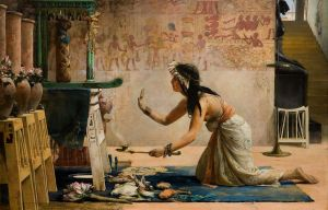 The Obsequies of an Egyptian Cat  A priestess offers gifts of food and milk to the spirit of a cat. On an altar stands the mummy of the deceased, and the tomb is decorated with frescoes, urns of fresh flowers, lotus blossoms, and statuettes. The priestess kneels as she wafts incense smoke toward the altar. In the background, a statue of Sekhmet or Bastet guards the entrance to the tomb. Source: Wikipedia, in public domain.