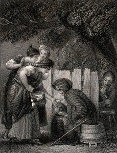 "V0036030 A ""spae wife"" (fortune-teller). Engraving by J.A. Wright aft"